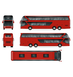 Red bus mockup vector