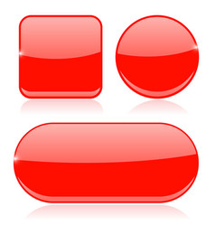 red buttons round square and oval shiny icons vector image