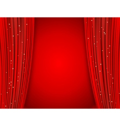 Red curtains on red background vector