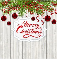 Red decorations and greeting inscription vector image