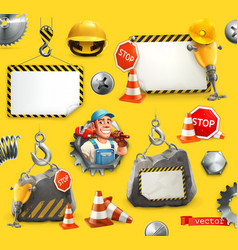 repair and under construction 3d icon set vector image
