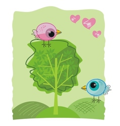 Romantic birdies doodle vector