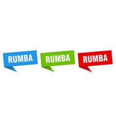 Rumba banner sign rumba speech bubble label set vector