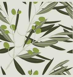 seamless white background with olive branch vector image