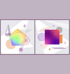 set abstract poster on vector image