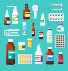 set of medicine bottles with pills drugs tablets vector image