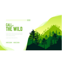 silhouette evergreen trees call wild vector image