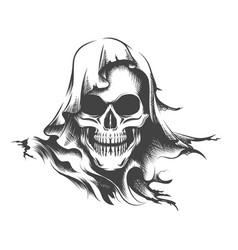 Skull in a hood tattoo vector