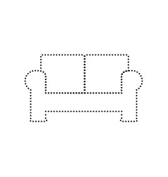 Sofa sign black dotted icon vector