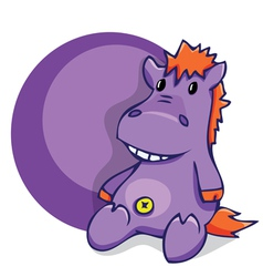 Soft fun toy smiling hippo vector image