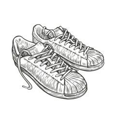Sport shoes sketch hand drawn vintage vector