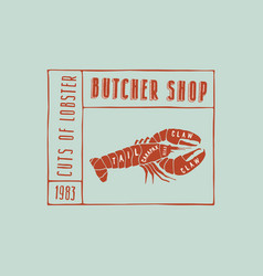 stock lobster cuts diagram vector image