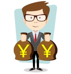 Successful businessman with bags of money vector