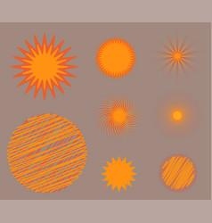 Sun burst star icon set summer vector