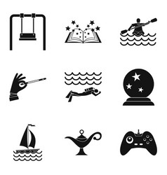 swimming pool icons set simple style vector image