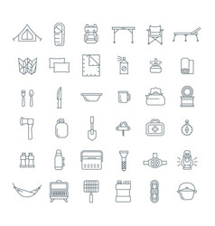 Tourist equipment for hiking outline icons set vector