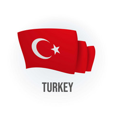 Turkey flag bended flag realistic vector