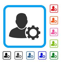 User settings gear framed icon vector