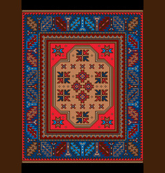 Vintage carpet patterns in red and blue colors vector