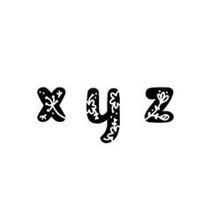 Vintage floral bold letters x y z logo spring vector