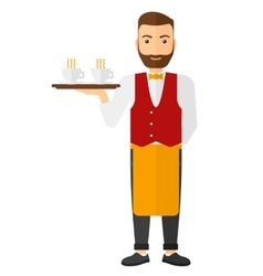Waiter holding tray with beverages vector image