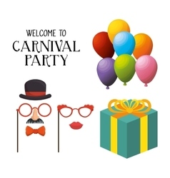 Welcome carnival party masks female gentleman gift vector