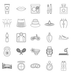 Yoga icons set outline style vector