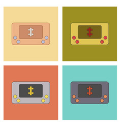Assembly flat icons kids toy console vector