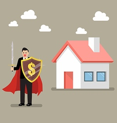 Businessman protecting house with shield and sword vector image vector image
