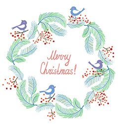 Christmas card with wreath and birds retro design vector image