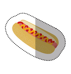 color hot dog fast food icon vector image vector image