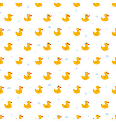 cute ducky floats on pond seamless pattern vector image vector image