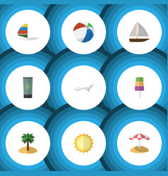 Flat icon season set of yacht coconut sphere and vector