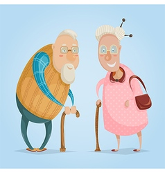 happy grandparents funny cartoon characters vector image