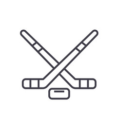 hockey flat line concept vector image