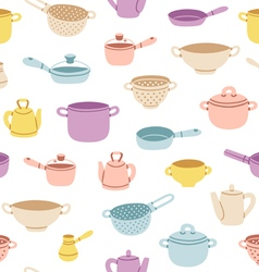 Kitchenware colorful seamless pattern vector image vector image