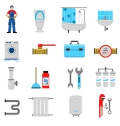 Plumbing Icons Set vector image