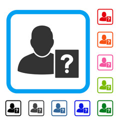 user status question framed icon vector image vector image