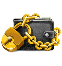 Wallet with lock vector image vector image