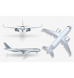 white airplane with shadow icon set on checkered vector image vector image