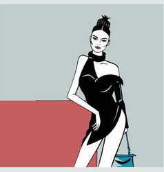 white skin fashion girl in a short black dress vector image