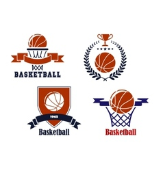 Basketball team emblems or symbols vector image vector image