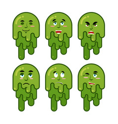 booger emotions set cheerful and sad snot evil vector image