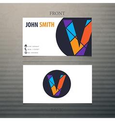 business card template letter V vector image