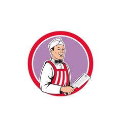 Butcher Holding Meat Cleaver Circle Cartoon vector image vector image