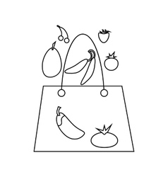 Grocery bag with fruits and vegetables icon vector image