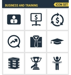 Icons set premium quality of corporate management vector image