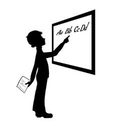 Silhouette of schoolboy at blackboard vector image vector image