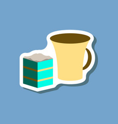 sweet dessert in paper sticker cup of coffee and vector image