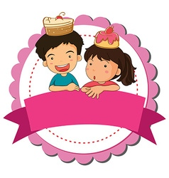 Children and cake vector image vector image